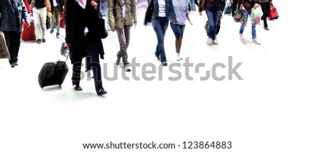 A large group of passengers. Panorama. Motion blur.  White background.