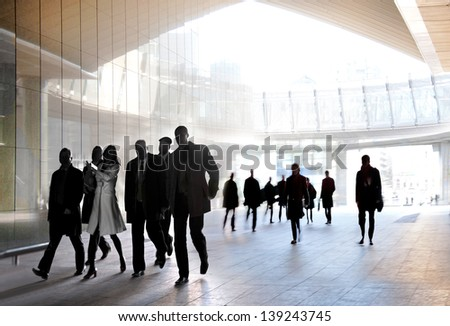 A large group of people in the office center. Panorama. Urban scene. #139243745