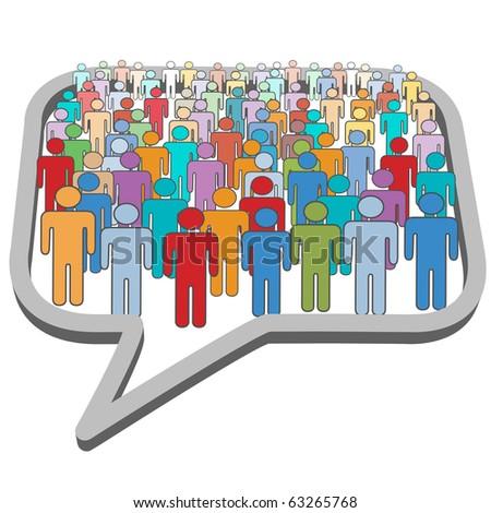 A large group of social media people meet inside a communication speech bubble