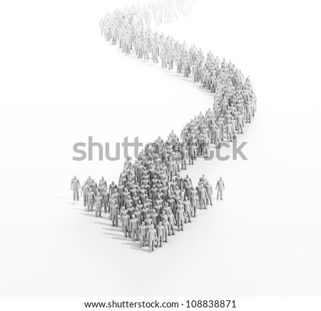 A large group of stylized 3d people forming an arrow - stock photo