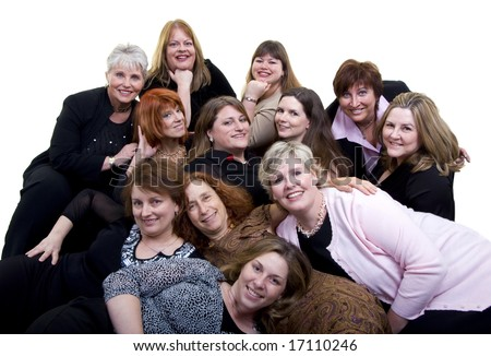 A large group of women having fun together. Friends and sharing