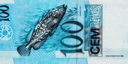 a large hermaphroditic fish that lives for up to 50 years. Portrait from Brazil 100 Real 1994 Banknotes.
