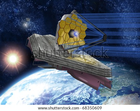 A large infrared space telescope with the Sun and Earth in the background.
