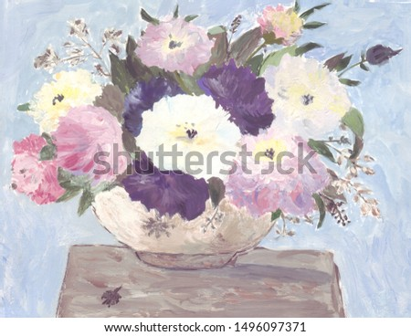 A large large vase with multi-colored voluminous peonies standing on the table. Paint illustration
