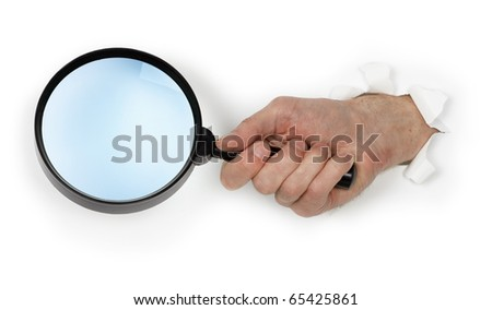 A large magnifying glass in hand isolated on white background