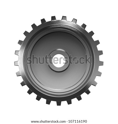 A large metal gear on a white background - stock photo