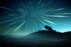 A large meteor shower on a misty evening with streaks across the sky. Shooting stars landscape astrophotography composite.