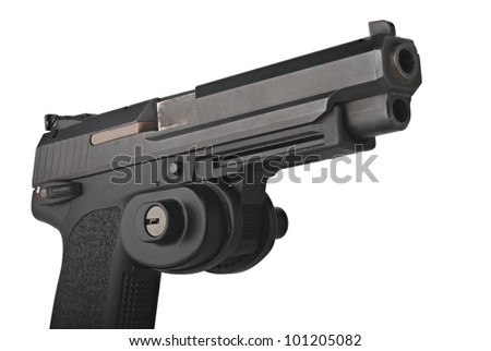 A large 9mm automatic pistol with trigger guard lock