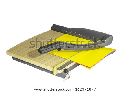 A large office paper cutter isolated on a white background. Foto d'archivio ©