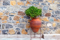 A large old terracotta amphora is used as a flower pot. Street decoration example