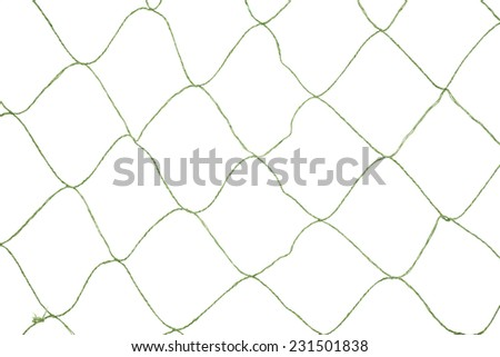 A large opening green fishnet on a white background.