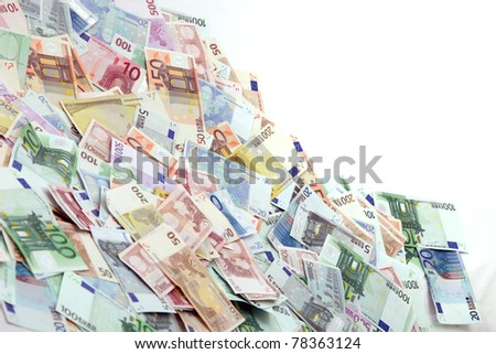 A large pile of euro notes - horizontal with copy - space