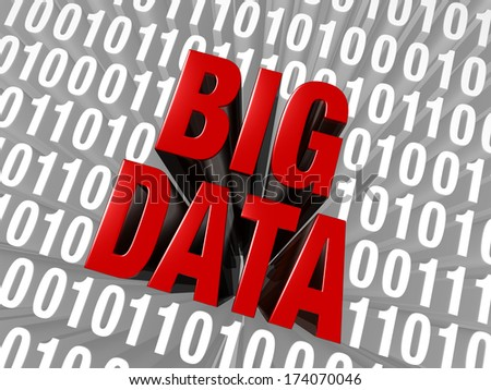 "A large, red ""BIG DATA"" stands out in a field of binary code."