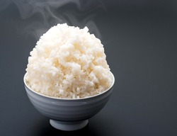 A large serving of rice in a bowl.