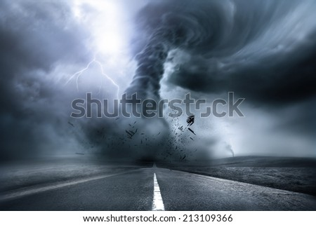 A large storm producing a Tornado, causing destruction. 3D Illustration.