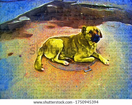 A large stray dog is lying and warming himself on a manhole in a the style of oil painting Fauvism in a bright colors