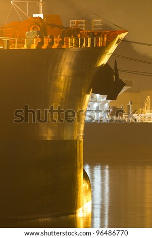 A large tanker situated in the harbor of Rotterdam, the Netherlands - stock photo