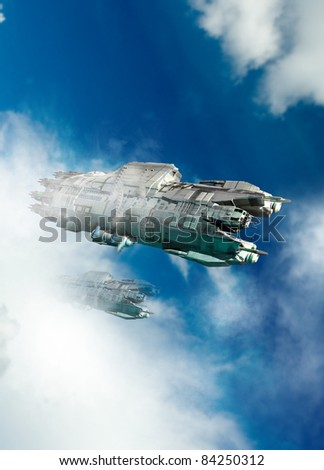 A large ufo or spaceship is seen flying through a bright blue, cloud covered sky.