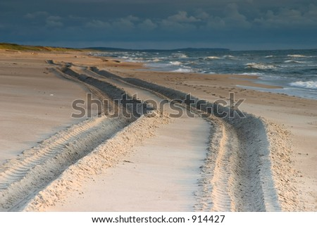 A large vehicle's tracks in the sand.  Neringa, Lithuania.