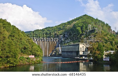 A large, very scenic,  hydroelectric plant in the mountains of North Carolina.