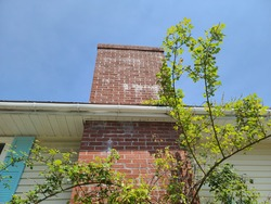A large, wide brick chimney attached to a suburban home. It goes through the awning and sticks out above the room. There is a budding tree and bush growing in front of the brick structure.