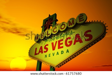 A Las Vegas sign with a beautiful sunset in the background