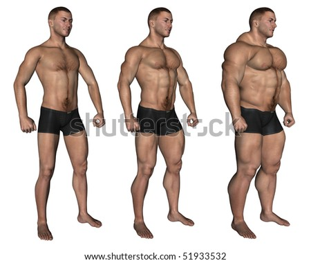 A lateral view of three muscular man.