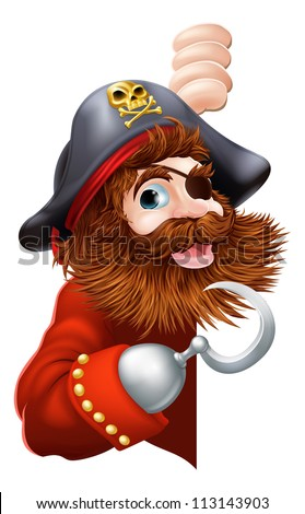 A laughing cartoon pirate with a hook and eye patch peeking out pointing out a message