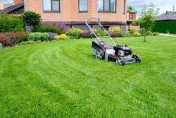 A lawn mower on a lush green lawn surrounded by flowers. The back yard of the house.