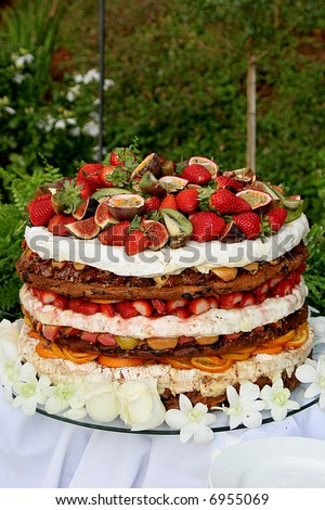 stock photo A layered fruit cake for a wedding