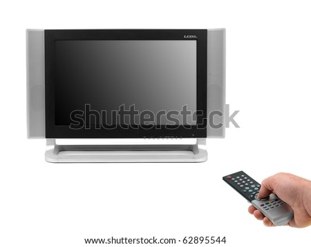 A LCD TV monitor isolated against a white background