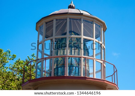 A lead crystal Fresnel lens that was in the Cape Mendocino Lighthouse housed at the Humboldt County Fairgrounds in Ferndale, California. #1344646196
