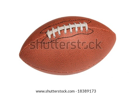 A leather football isolated against a white background.