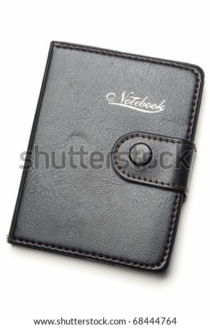 a leather notebook on white