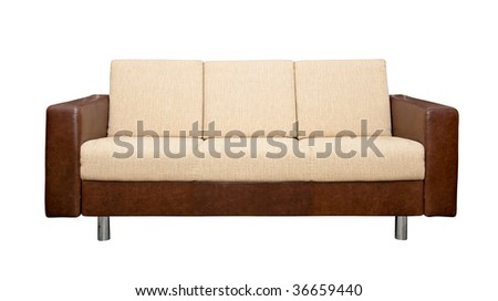 A leather sofa with fabric upholstery isolated on white background - stock photo
