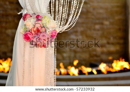 stock photo A leg of a Jewish wedding cannopy decorated with beautiful