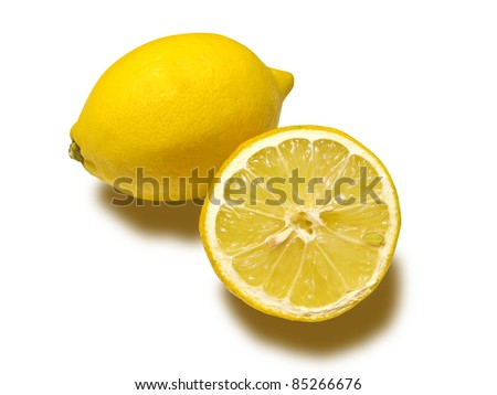 A lemon and a half, isolated in white background with clipping path