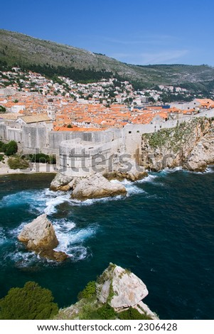 A less common view of the old city of Dubrovnik from the north side.