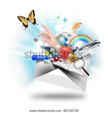 A letter or email is opening up with many object popping out such as a butterfly and book. Use it for a newsletter or mail icon.