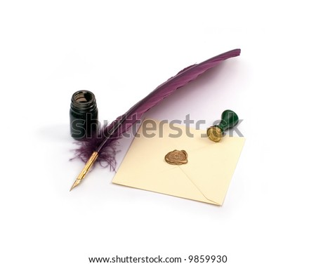 A letter with a quill, an inkwell and a stamp isolated on white background