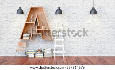 A library with bookshelves a letter a. 3d render and illustration.