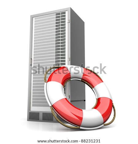 A life belt with a Server tower. 3d rendered Illustration. Isolated on white.