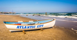 A lifeboat on the beach in Atlantic City, New Jersey.