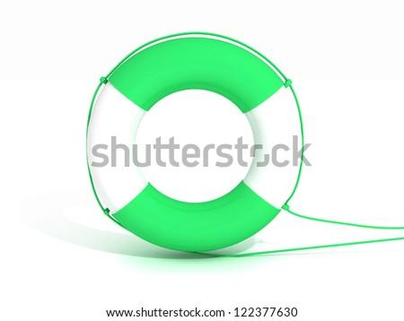 A lifebuoy isolated on white