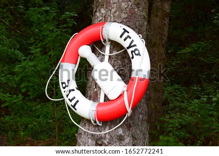 "A lifebuoy with the words ""safe"" in norwegian hangs on a tree."