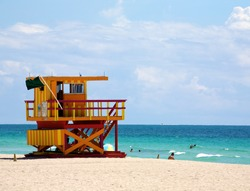 A lifeguard tower on South Beach in Miami Florida
