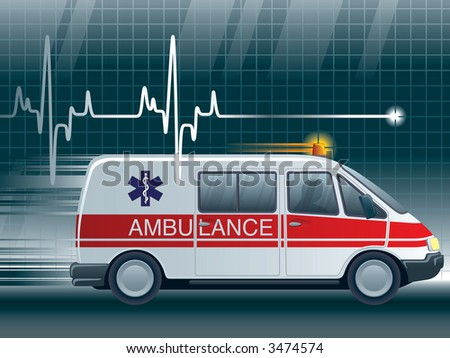 stock photo a lifeline in an electrocardiogram and an ambulance 3474574 1990 ford ambulance wiring diagrams 1990 ford drive shaft, 1991 2007 Freightliner M2 106 Medium Duty at creativeand.co