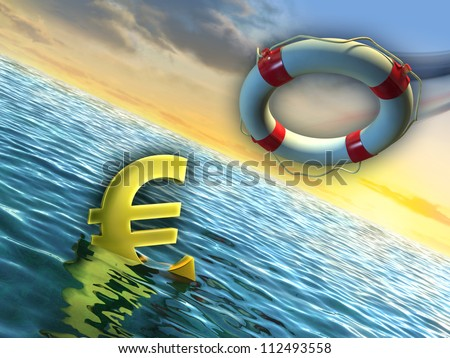 A lifesaver used to rescue a sinking euro. Digital illustration.