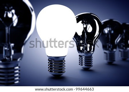 A light bulb on with others turn off. Ideas concept