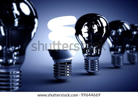 A light bulb on with others turn off. Ideas concept and energy saving